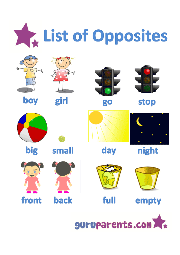 Nursery drawing word. Opposites worksheets guruparents list