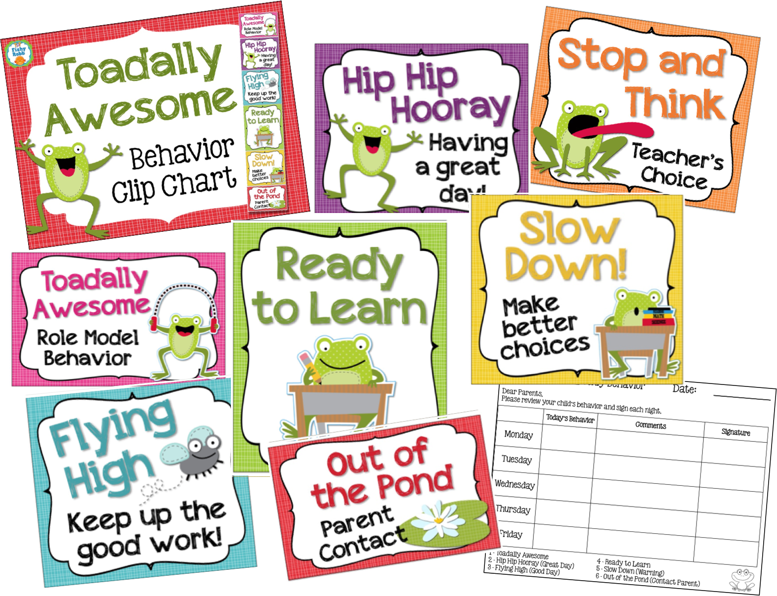 Clip charts second grade. Frog theme behavior chart