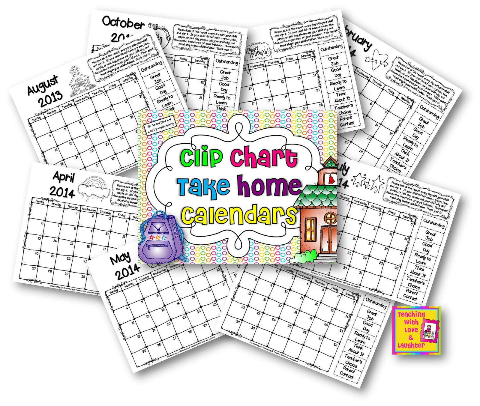 Clip charts calendar. Teaching with love and