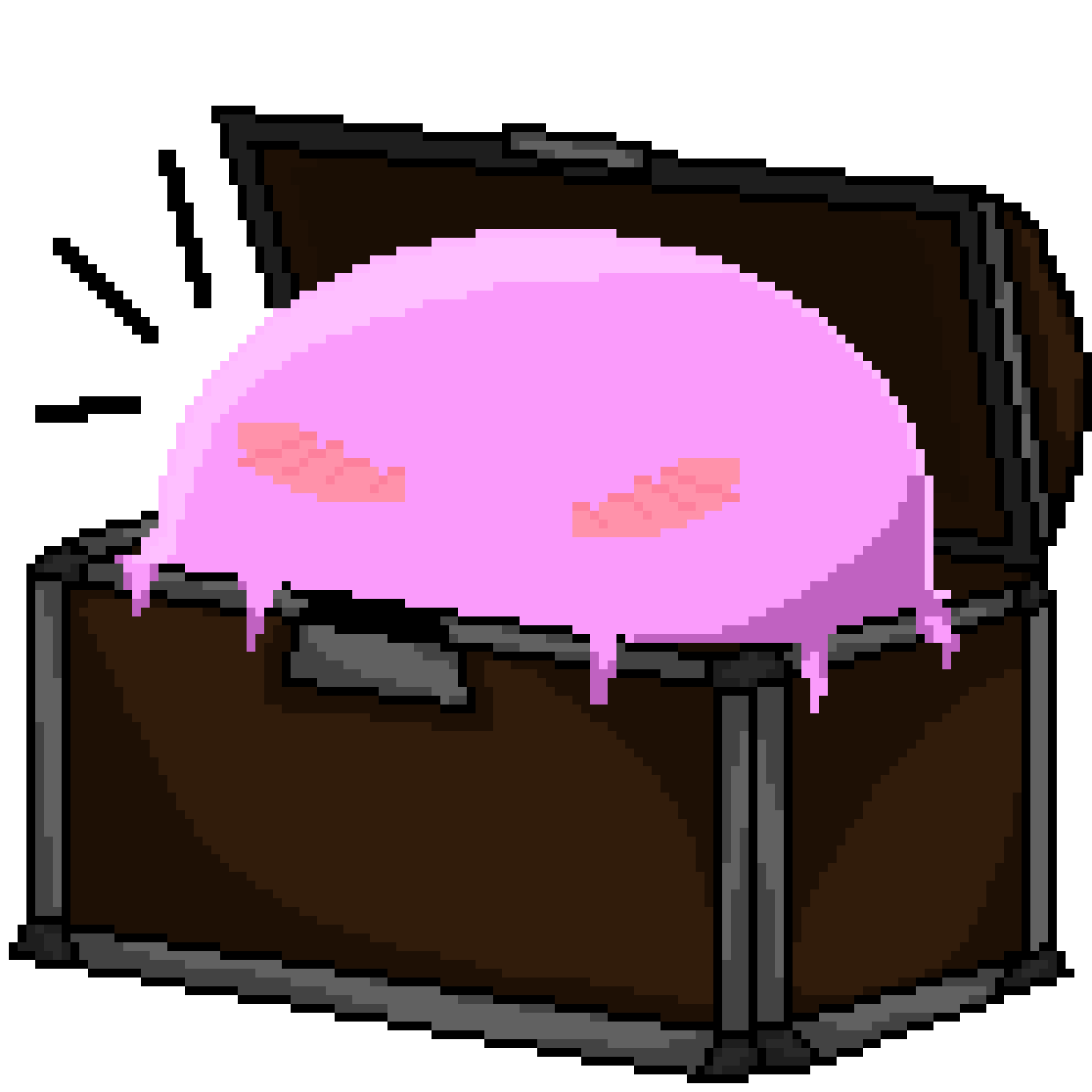 Clip down chest. Pixel art pink slime