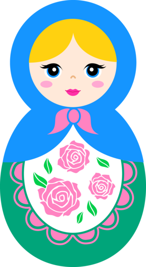Pins drawing doll. Cute matryoshka clip art