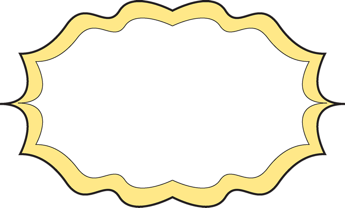 Fancy yellow free art. Frame clip black and white stock