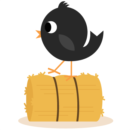Clip hay bale. Crow on svg cutting