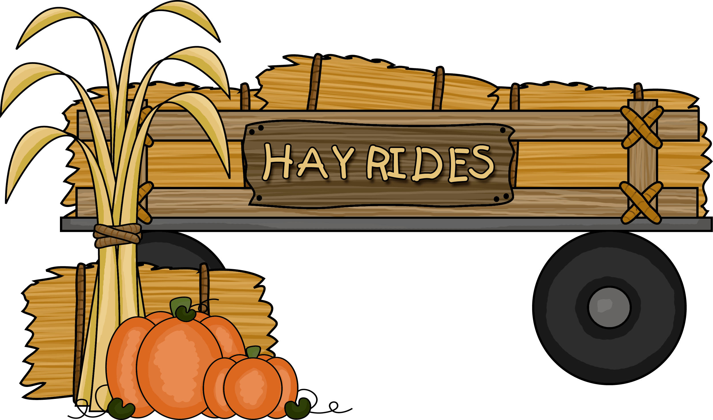 Clip hay hayride. Black and white