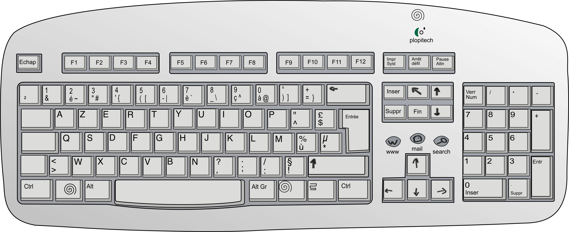 Clip keyboard computer. Picture library stock