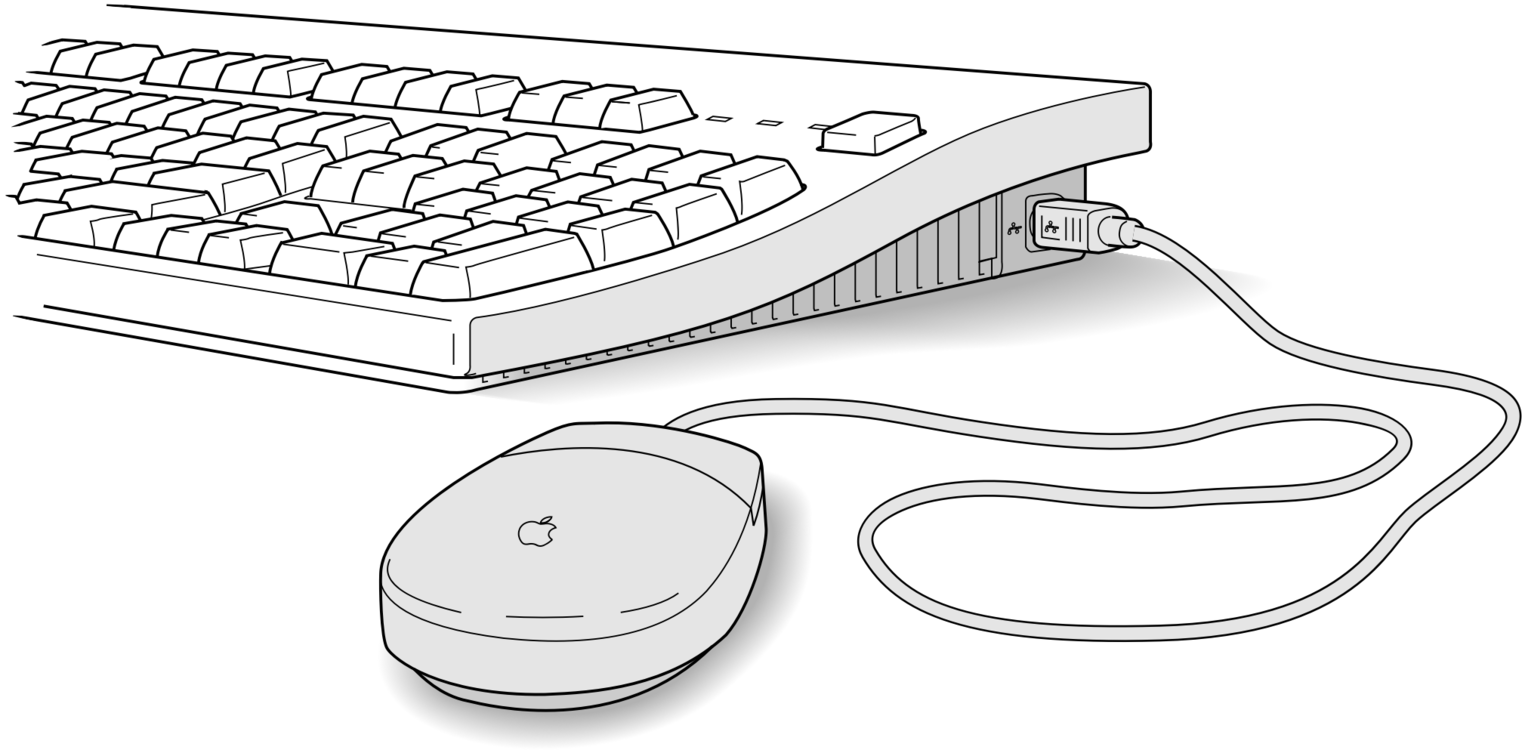 Drawing keyboard comp. Computer mouse practice icons