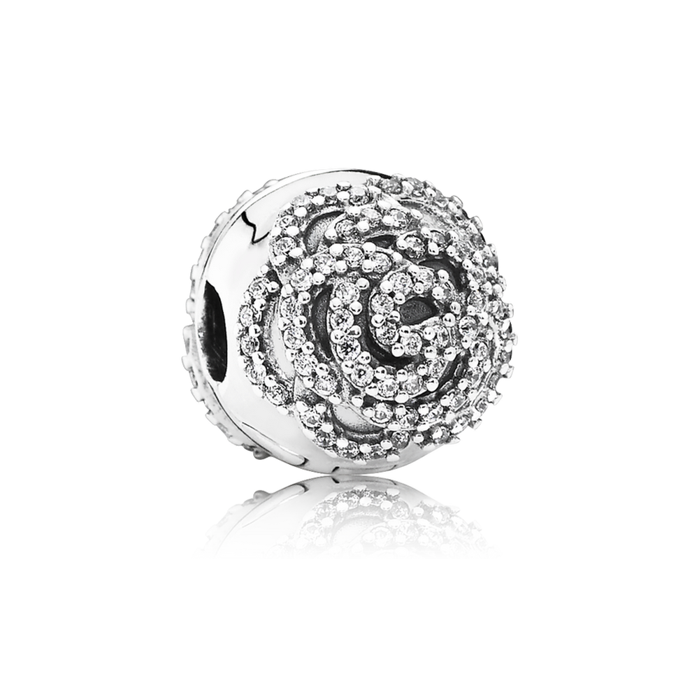 Charm clip retirement. Shimmering rose clear cz