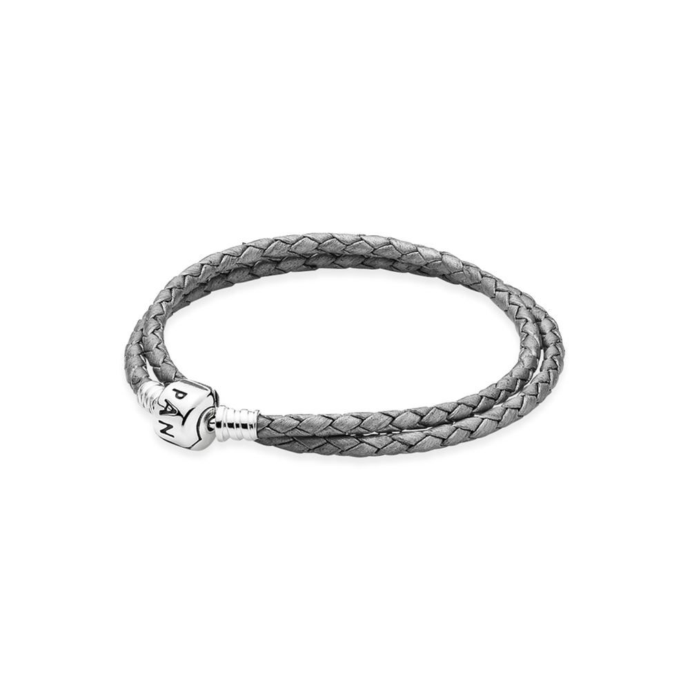 Silver grey double leather. Clip pandora braided clip freeuse