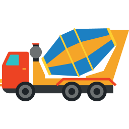 Clip puller vehicle. Concrete mixer truck icon