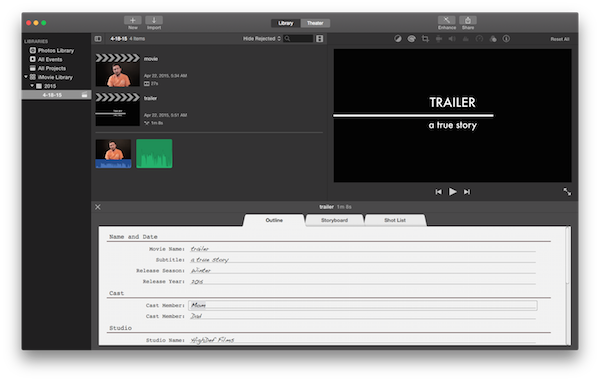 Clip screenshot imovie. How to edit projects
