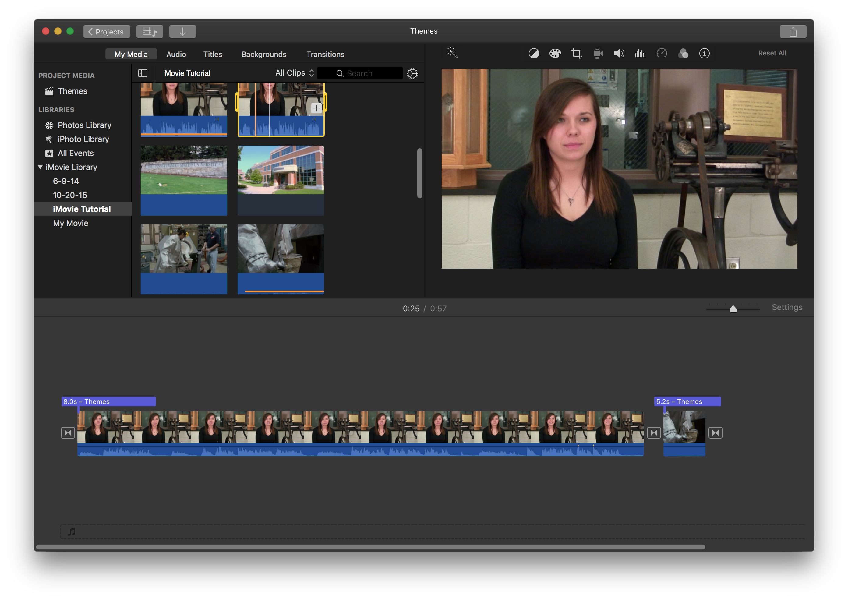 Clip screenshot imovie. Introduction to basic editing
