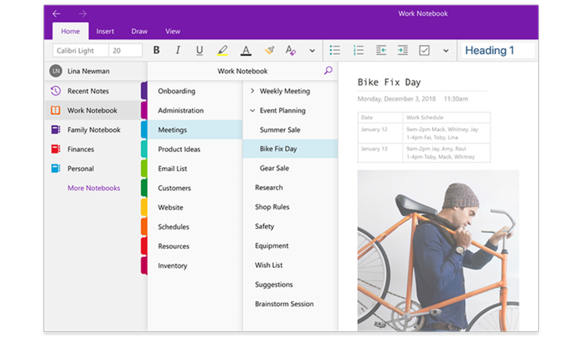 OneNote digital notetaking app