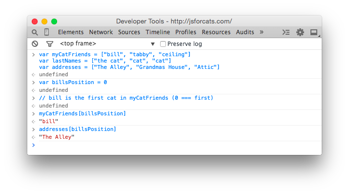 Drawing js line. Javascript for cats console