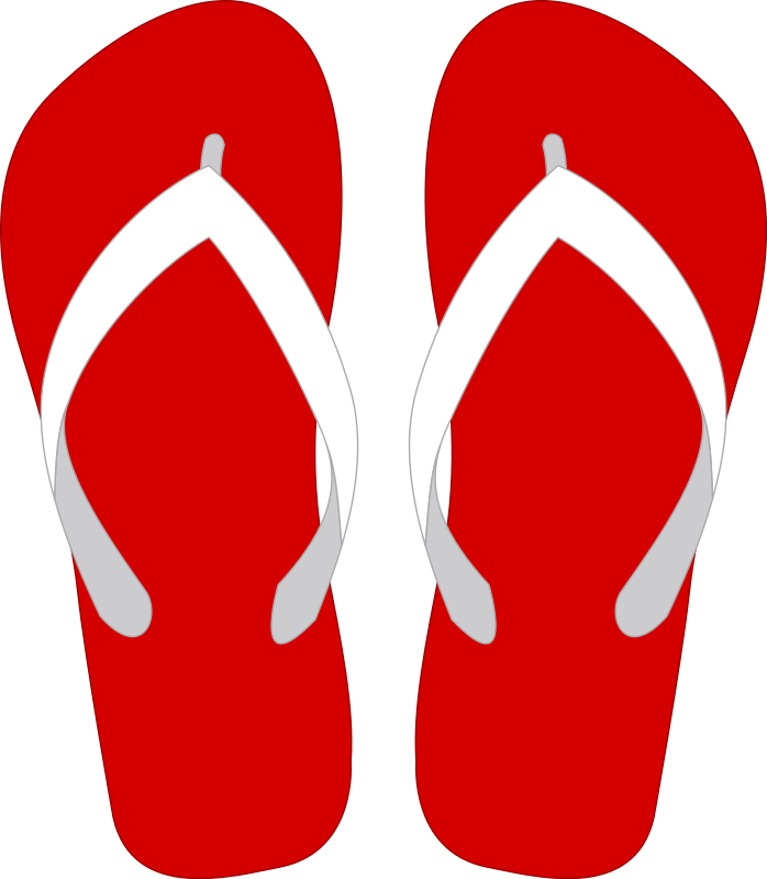 Clip shoes flip flop. Red clipart
