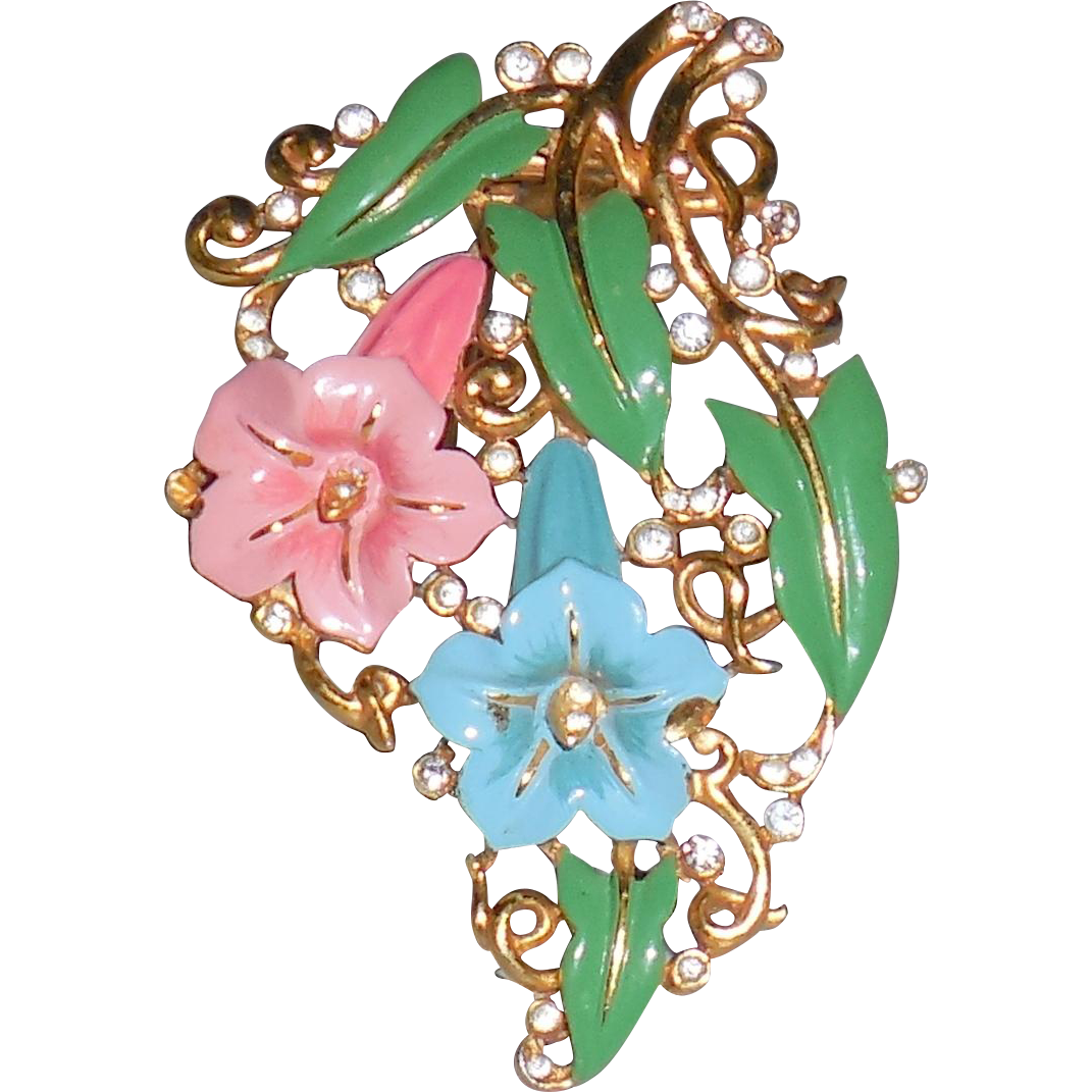 Clip shoes jewelry. Vintage crown trifari morning