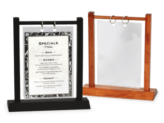 Clip stand card. Menu stands restaurant table