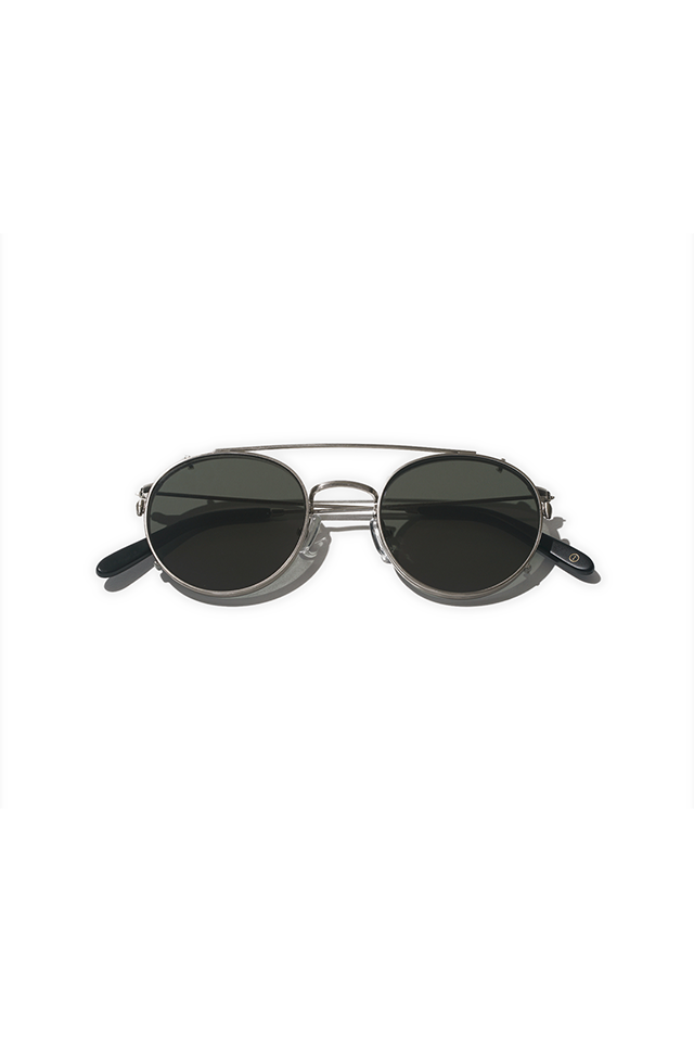 Clip sunglasses. Inventery on brushed chrome