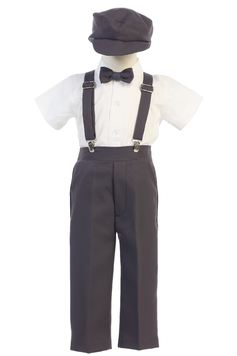 Clip suspenders. Boys charcoal grey short