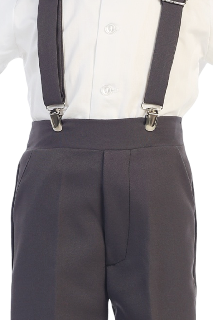 Clip button suspender. Boys charcoal grey short