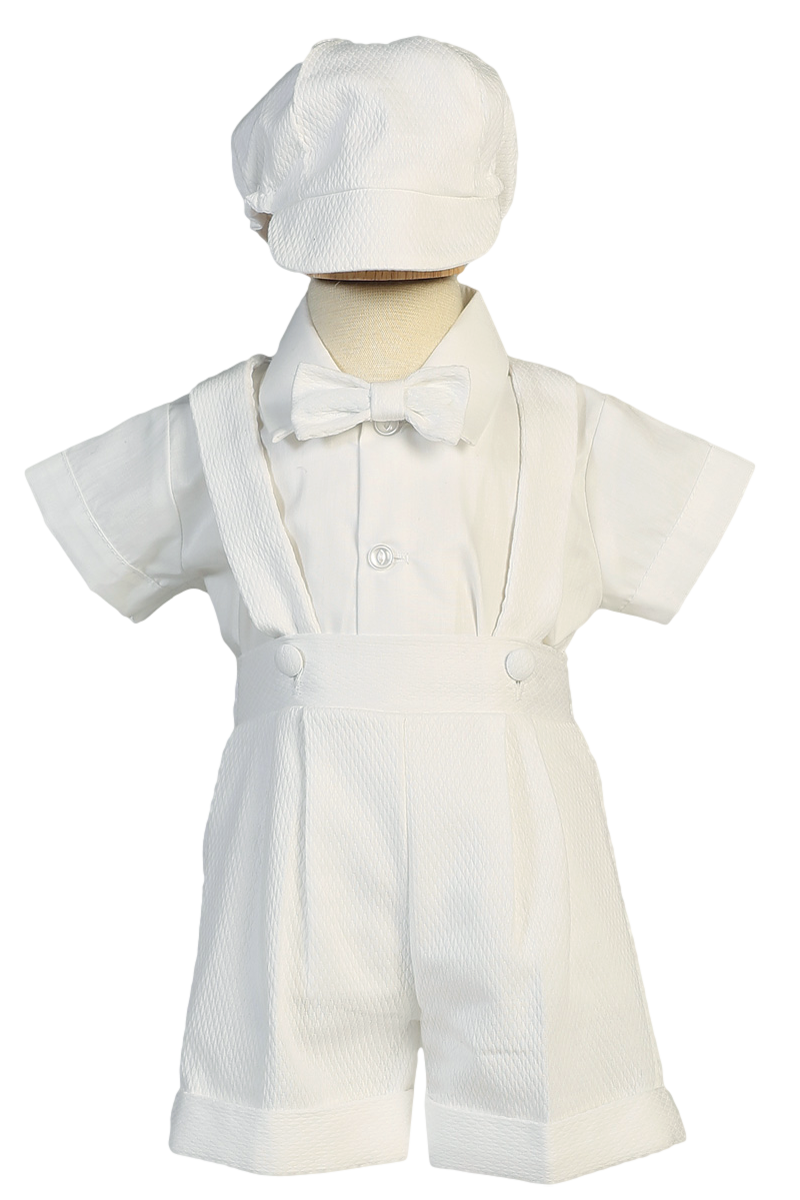 Clip suspenders dress. A piece white poly