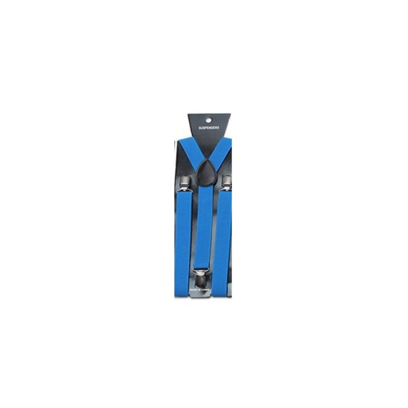 Clip suspenders suit. Adjustable elastic blue