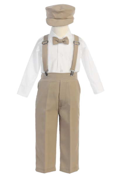 Clip suspenders kid. Khaki tan suspender pants