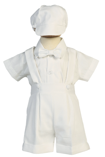 Clip suspenders kid. Suspender shorts christening outfit