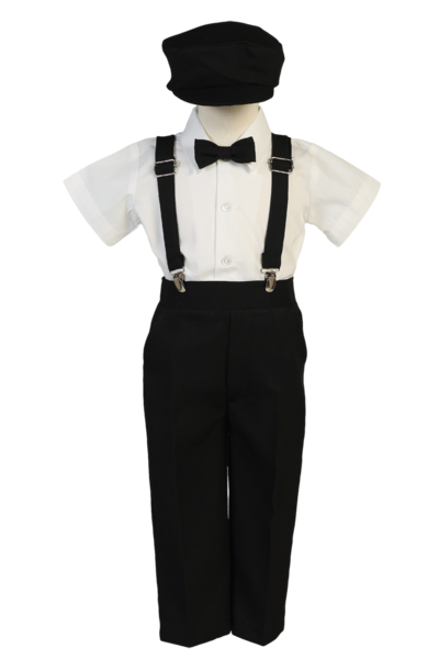 Clip suspenders suit. Boys black short sleeve