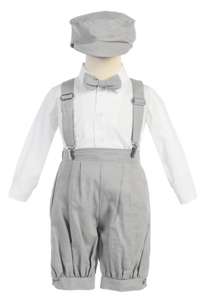 Clip suspenders suit. Light grey linen blend