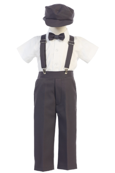 Clip suspenders suit. Boys charcoal grey short