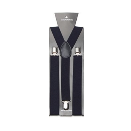 Clip suspenders tie. Adjustable elastic navy blue
