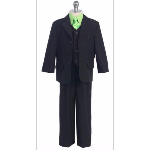 Clip suspenders suit. Boys slim fit wedding