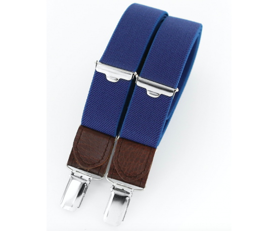 Clip suspenders brown leather. Pacific blue skinny braces