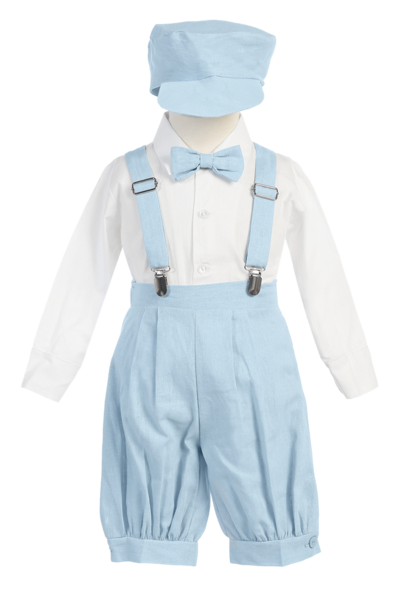Clip suspenders kid. Boys light blue linen