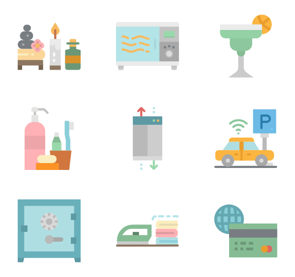 Clip technology vector art. Hotel icons free