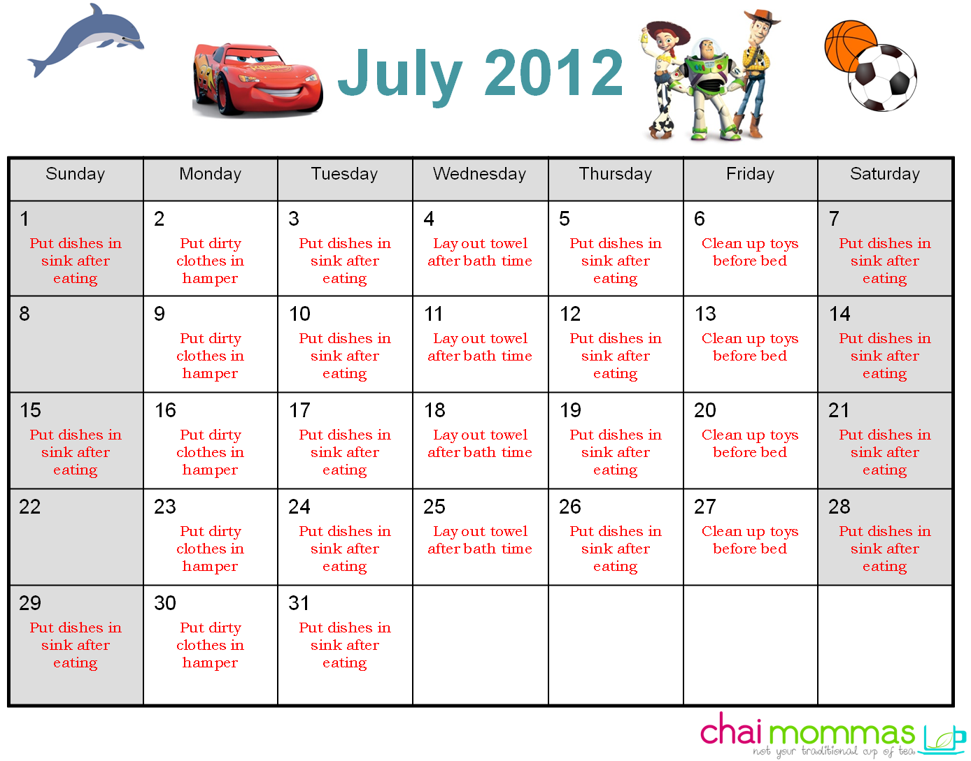 Clip up chart. Kids chores low budget