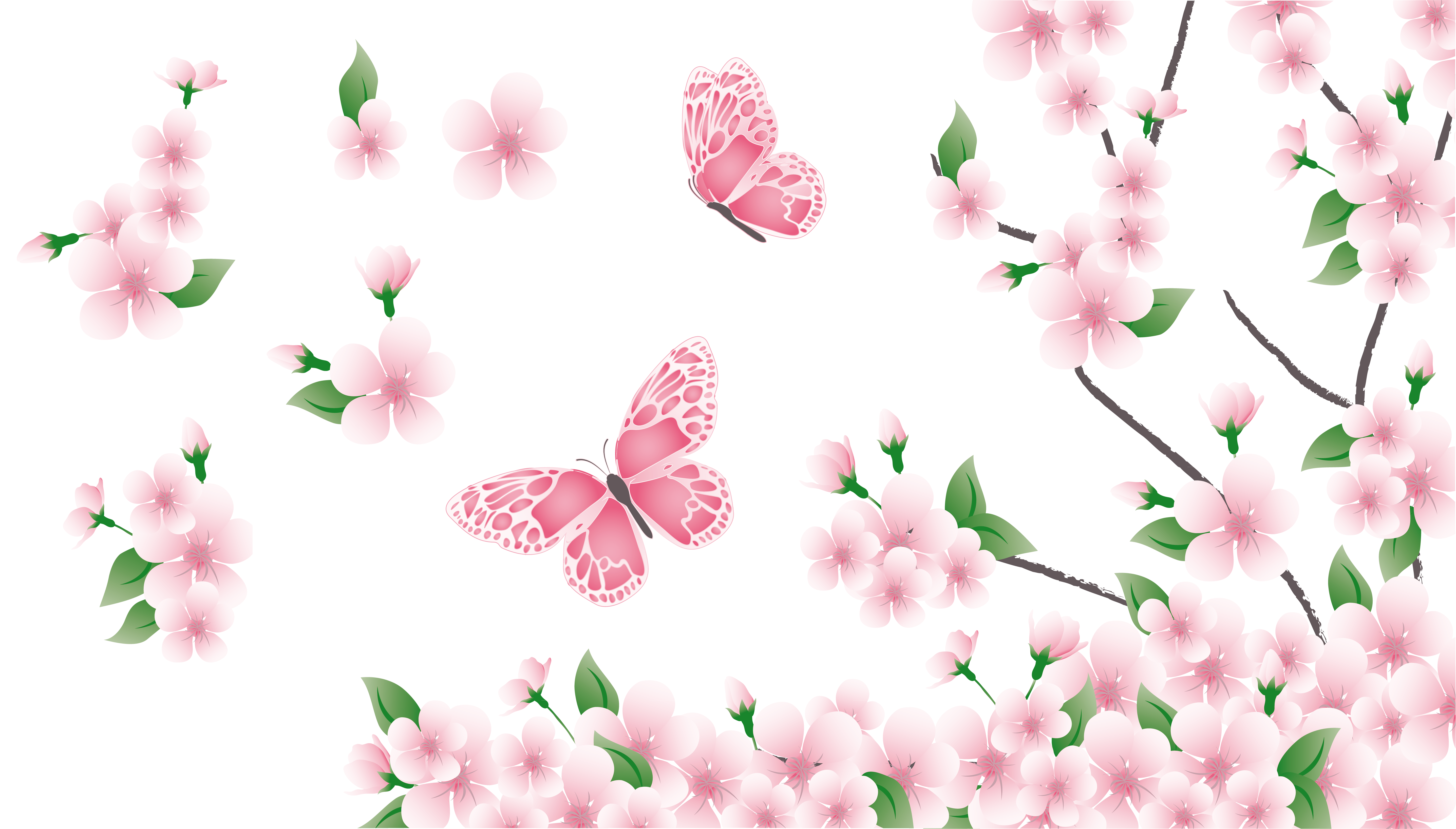 Clipart flowers and butterflies png. Spring branch with pink