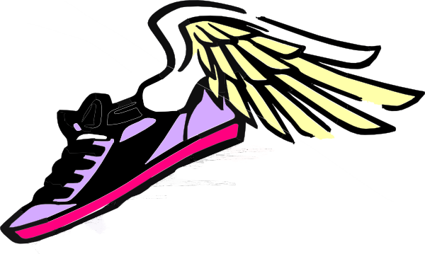 Clipart running shoe png. With wings purple pink