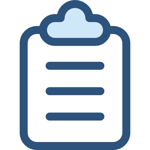 Transparent clipboard blue. Icon page