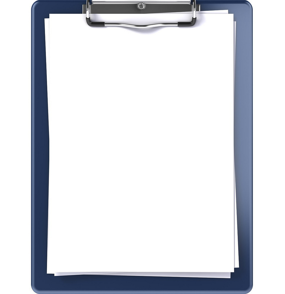 Clipboard clipart frame. Blank isolated on white