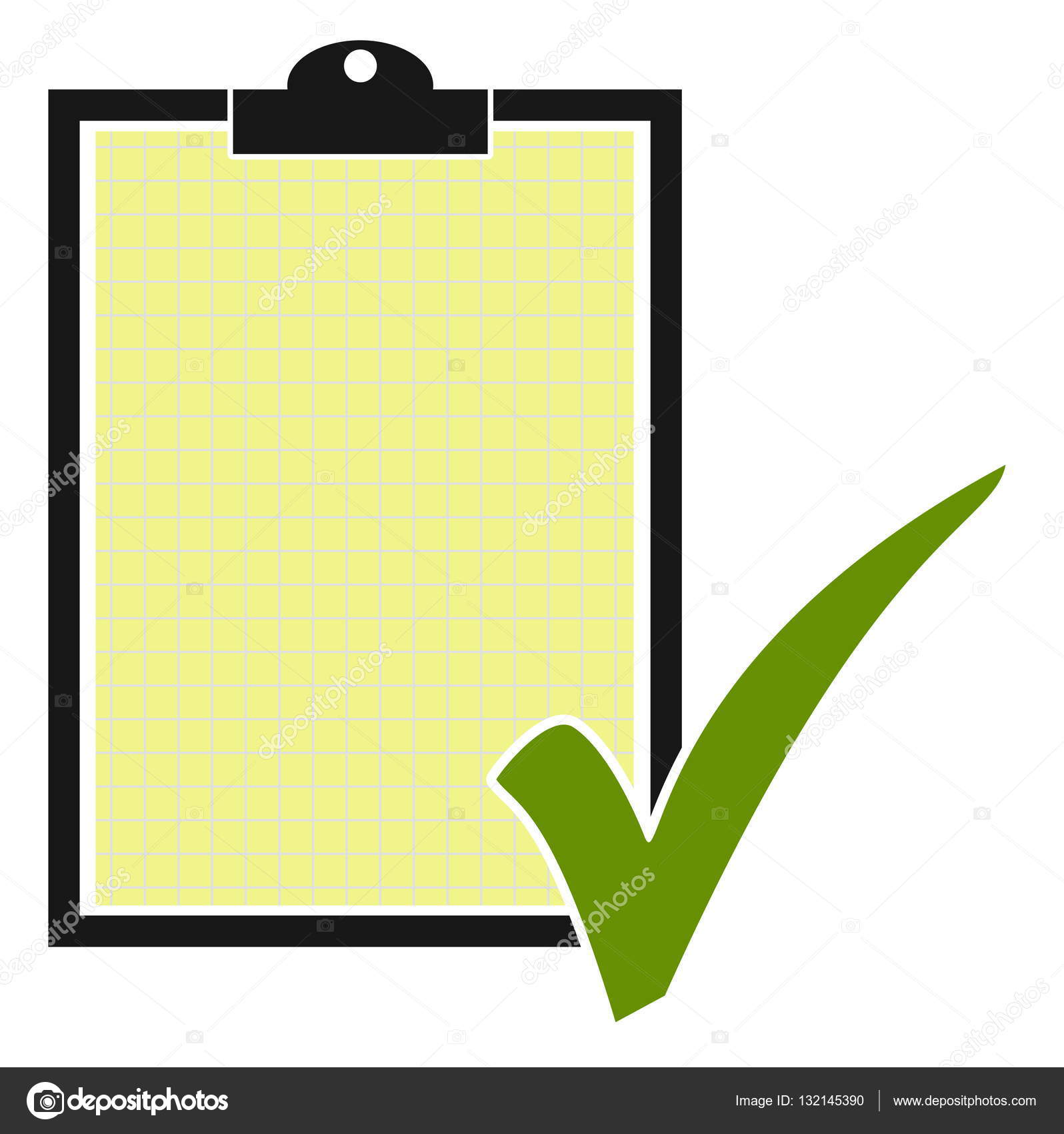 Clipboard clipart tick. Green and isolated with