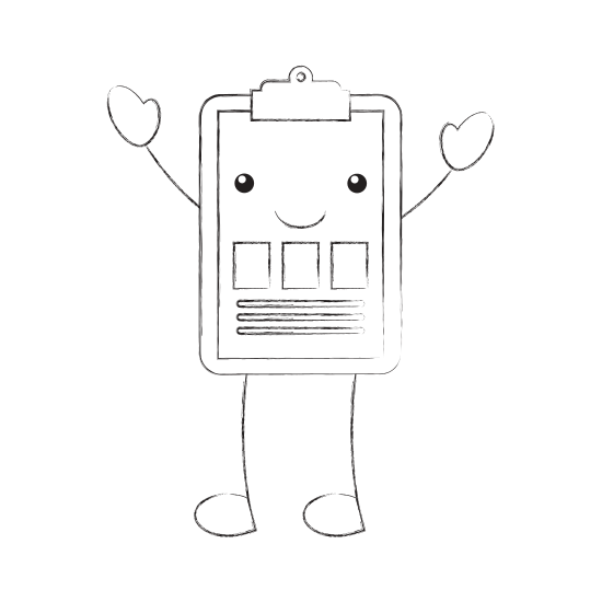 Clipboard drawing cartoon. Isolated character icons by