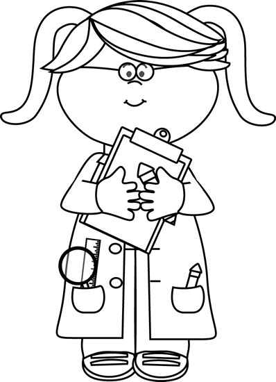 Transparent science black and white. Clipart girl scientist with
