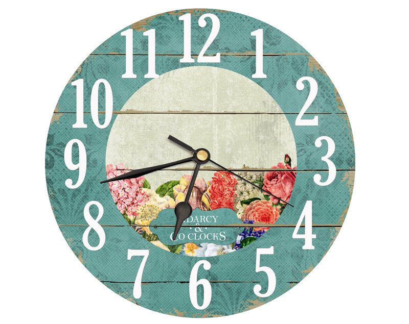 Clock clipart flower. Vintage shabby chic style