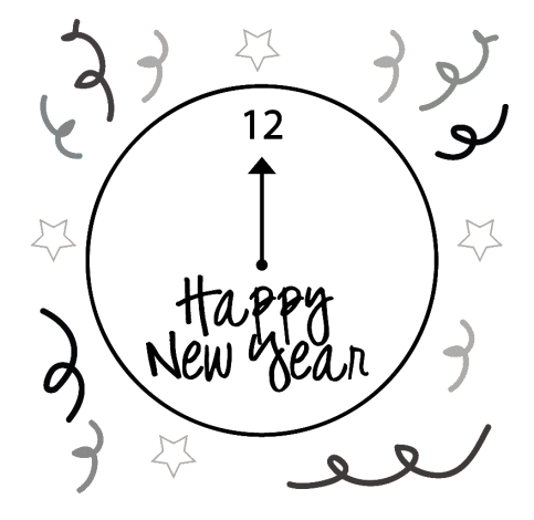 Clock clipart heart. Happy new year clip