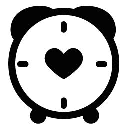 Clock clipart heart. Silhouette of