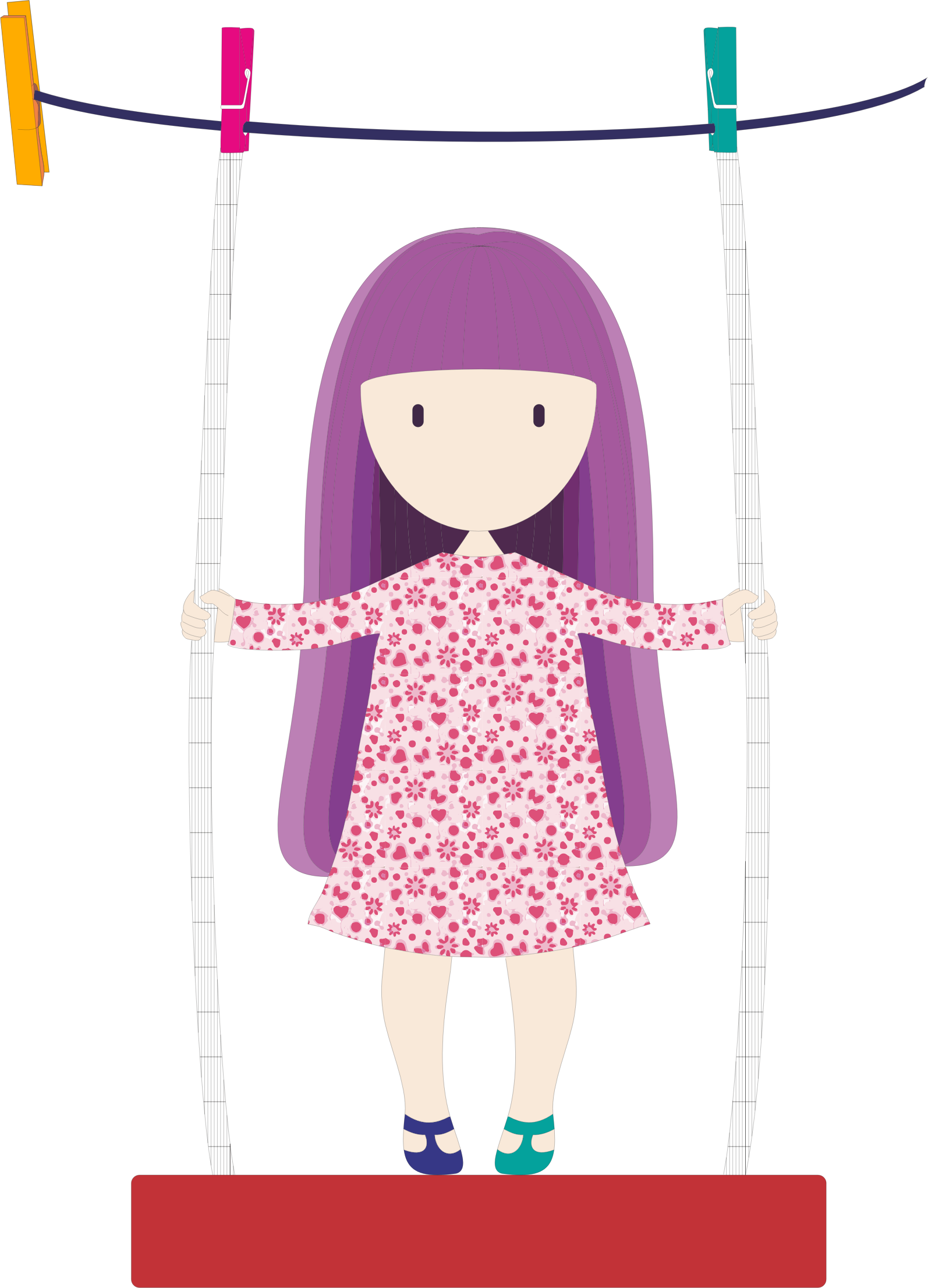 Girl swinging on icons. Clothesline clip png free library