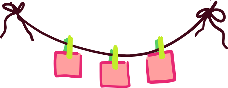 Clothespin clipart. Clothesline with paper held