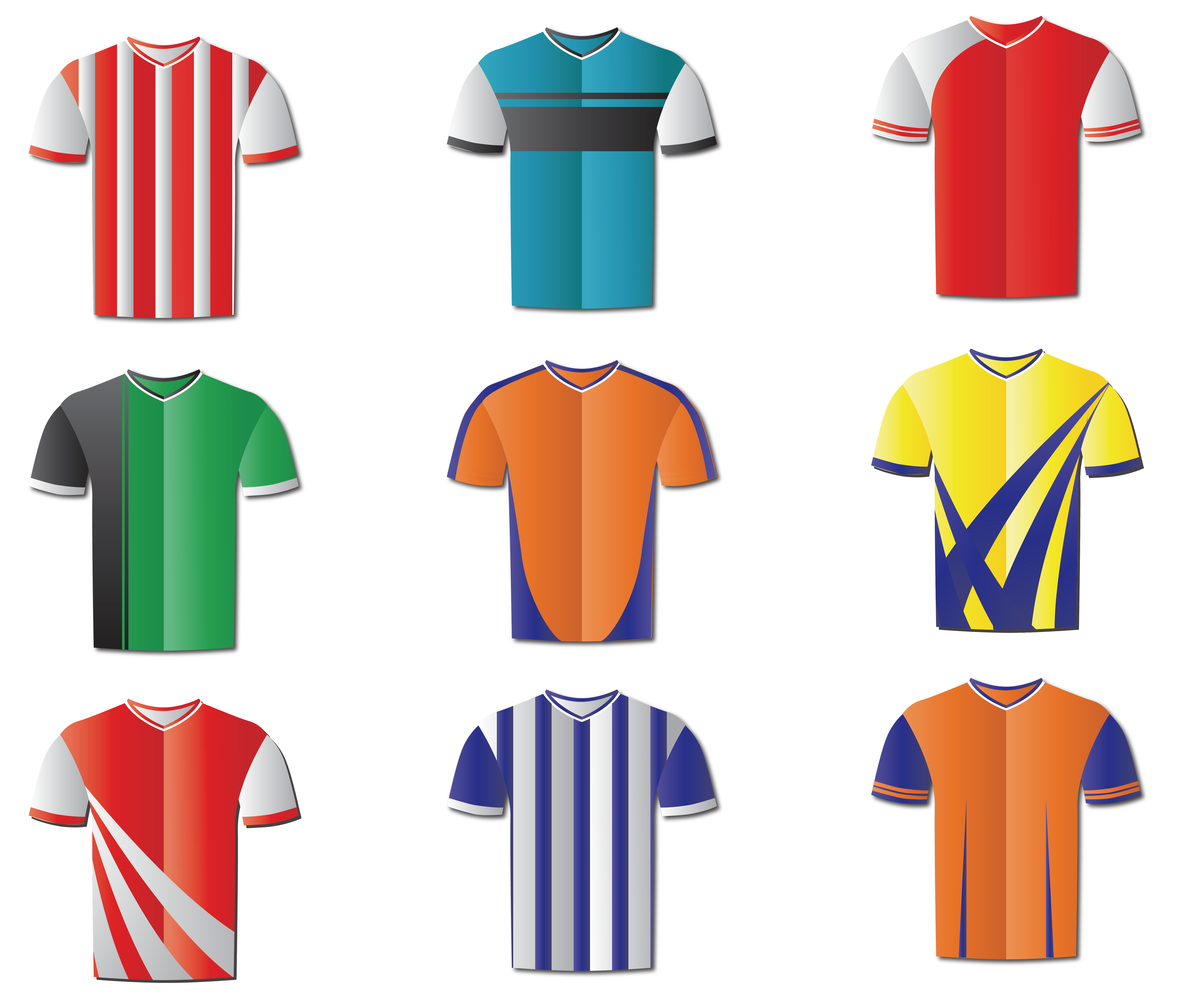 Clothing clip different. T shirt jersey football