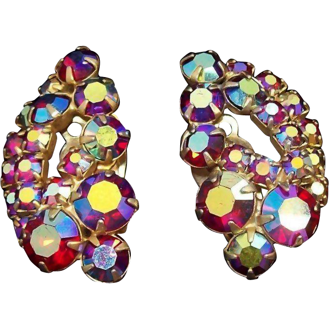 Clothing clip jewelry. Vintage sparkling red aurora